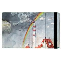 Watercolour Lighthouse Rainbow Apple iPad 2 Flip Case