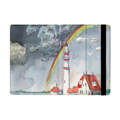 Watercolour Lighthouse Rainbow Apple Ipad Mini Flip Case