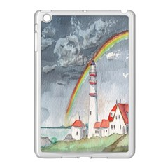 Watercolour Lighthouse Rainbow Apple iPad Mini Case (White)
