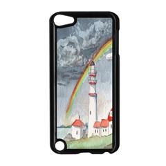 Watercolour Lighthouse Rainbow Apple Ipod Touch 5 Case (black)
