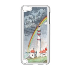 Watercolour Lighthouse Rainbow Apple Ipod Touch 5 Case (white)