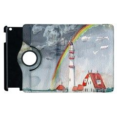 Watercolour Lighthouse Rainbow Apple Ipad 3/4 Flip 360 Case