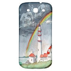 Watercolour Lighthouse Rainbow Samsung Galaxy S3 S Iii Classic Hardshell Back Case