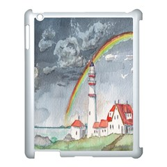 Watercolour Lighthouse Rainbow Apple Ipad 3/4 Case (white)