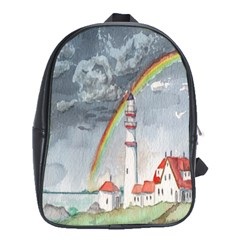 Watercolour Lighthouse Rainbow School Bags (xl)