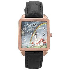 Watercolour Lighthouse Rainbow Rose Gold Leather Watch
