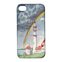 Watercolour Lighthouse Rainbow Apple Iphone 4/4s Hardshell Case With Stand