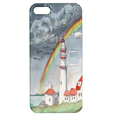 Watercolour Lighthouse Rainbow Apple iPhone 5 Hardshell Case with Stand