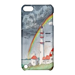 Watercolour Lighthouse Rainbow Apple Ipod Touch 5 Hardshell Case With Stand