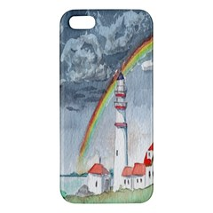 Watercolour Lighthouse Rainbow Apple iPhone 5 Premium Hardshell Case