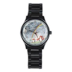 Watercolour Lighthouse Rainbow Stainless Steel Round Watch