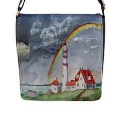 Watercolour Lighthouse Rainbow Flap Messenger Bag (l)
