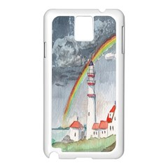 Watercolour Lighthouse Rainbow Samsung Galaxy Note 3 N9005 Case (white)