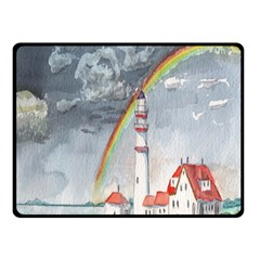 Watercolour Lighthouse Rainbow Double Sided Fleece Blanket (Small)
