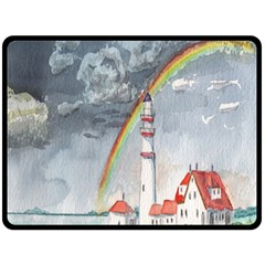 Watercolour Lighthouse Rainbow Double Sided Fleece Blanket (large)