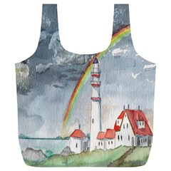 Watercolour Lighthouse Rainbow Full Print Recycle Bags (l)