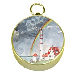 Watercolour Lighthouse Rainbow Gold Compasses