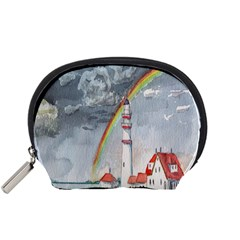 Watercolour Lighthouse Rainbow Accessory Pouches (small)