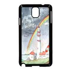 Watercolour Lighthouse Rainbow Samsung Galaxy Note 3 Neo Hardshell Case (black)