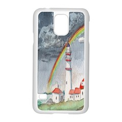 Watercolour Lighthouse Rainbow Samsung Galaxy S5 Case (white)