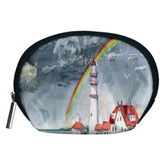 Watercolour Lighthouse Rainbow Accessory Pouches (medium)