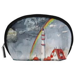 Watercolour Lighthouse Rainbow Accessory Pouches (Large)