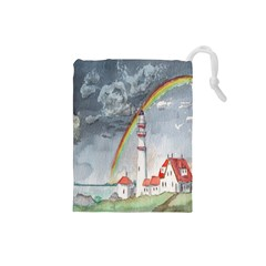 Watercolour Lighthouse Rainbow Drawstring Pouches (small)