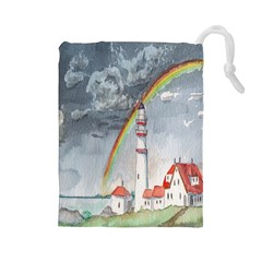 Watercolour Lighthouse Rainbow Drawstring Pouches (large)