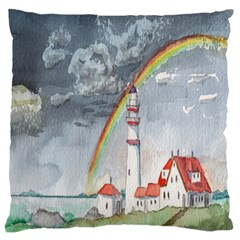 Watercolour Lighthouse Rainbow Large Flano Cushion Case (one Side)