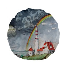 Watercolour Lighthouse Rainbow Standard 15  Premium Flano Round Cushions