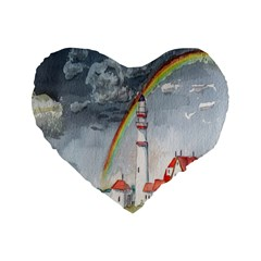Watercolour Lighthouse Rainbow Standard 16  Premium Flano Heart Shape Cushions