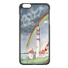 Watercolour Lighthouse Rainbow Apple Iphone 6 Plus/6s Plus Black Enamel Case