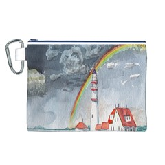 Watercolour Lighthouse Rainbow Canvas Cosmetic Bag (l)