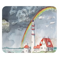 Watercolour Lighthouse Rainbow Double Sided Flano Blanket (small)