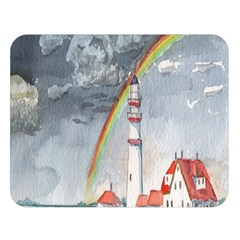 Watercolour Lighthouse Rainbow Double Sided Flano Blanket (large)
