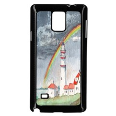 Watercolour Lighthouse Rainbow Samsung Galaxy Note 4 Case (Black)