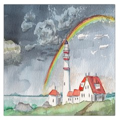 Watercolour Lighthouse Rainbow Large Satin Scarf (square)