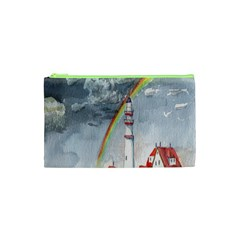 Watercolour Lighthouse Rainbow Cosmetic Bag (XS)
