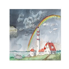 Watercolour Lighthouse Rainbow Small Satin Scarf (square)