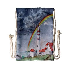 Watercolour Lighthouse Rainbow Drawstring Bag (small)