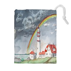 Watercolour Lighthouse Rainbow Drawstring Pouches (Extra Large)