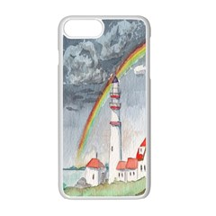 Watercolour Lighthouse Rainbow Apple Iphone 7 Plus White Seamless Case