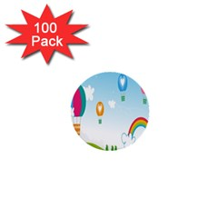 Landscape Sky Rainbow Garden 1  Mini Buttons (100 pack)