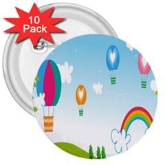 Landscape Sky Rainbow Garden 3  Buttons (10 pack)