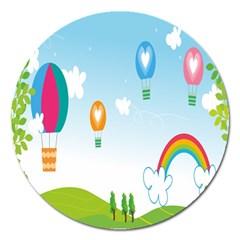 Landscape Sky Rainbow Garden Magnet 5  (round)
