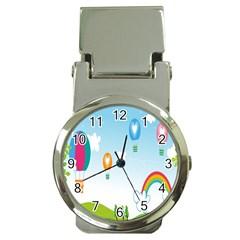 Landscape Sky Rainbow Garden Money Clip Watches