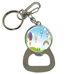 Landscape Sky Rainbow Garden Button Necklaces