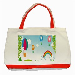Landscape Sky Rainbow Garden Classic Tote Bag (red)