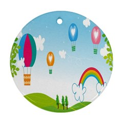 Landscape Sky Rainbow Garden Round Ornament (two Sides)