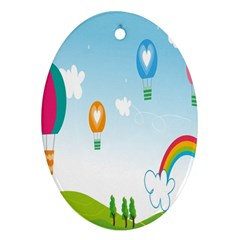 Landscape Sky Rainbow Garden Oval Ornament (two Sides)